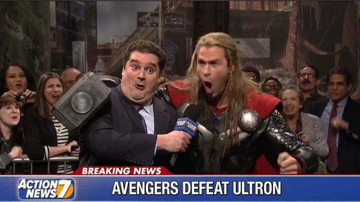Thor celebrates defeating Ultron on Saturday Night Live