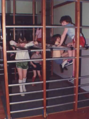 The Wall Bars - we were allowed to put these out ourselves, they used to clip into the floor of the hall. I even had some of those shiny shorts!