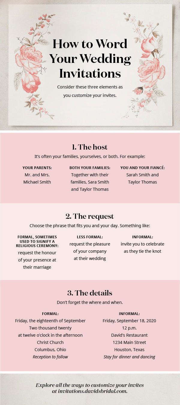 Wondering how to word your wedding invitations? Consider who's hosting and how formal your celebration will be. See more ideas in our full how-to guide at davidsbridal.com.