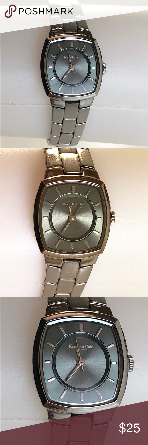 Kenneth Cole Silver Women's Watch Kenneth Cole Classic women's watch features a 24mm wide solid stainless steel case with a fixed bezel and textured push-pull crown. The watch is a Japan movement. It is equipped with a solid stainless steel bracelet with a deployment type push button clasp. It is a previously owned item, but well taken care of. Please message me if you are wanting any additional details or pictures from different angles. Thanks for looking! Kenneth Cole Accessories Watches