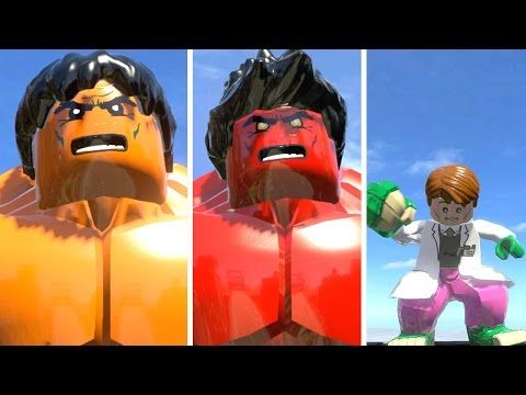 Orange Hulk vs Red Hulk vs Curt Connors Lizard Transformation LEGO Marve...