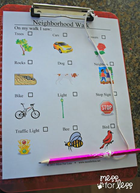 Neighborhood Walk I Spy with printable