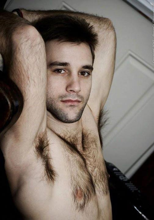 hairy chest man with Young