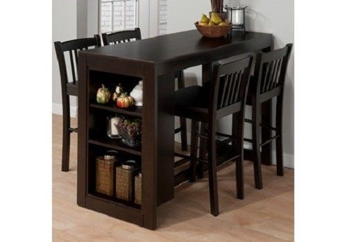 Pub Table Set Counter Height Storage Space Chairs Bar Stools Kitchen 4 Chairs