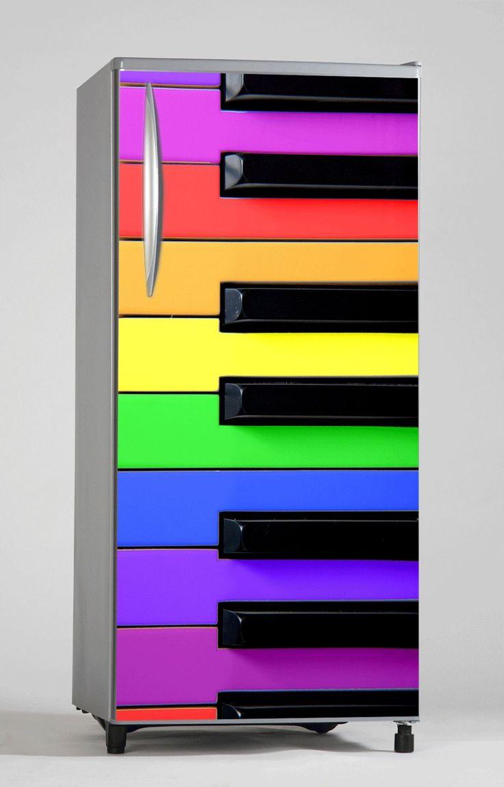 naklejka na lodówkę - kolorowy fortepian