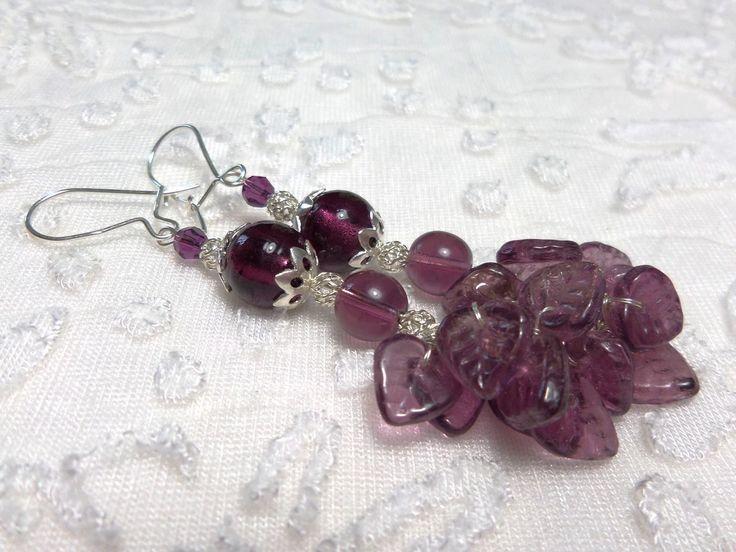 Boucles oreilles en argent perles en verre violet Bohème, baroque romantique : Boucles d'oreille par bijouxdart