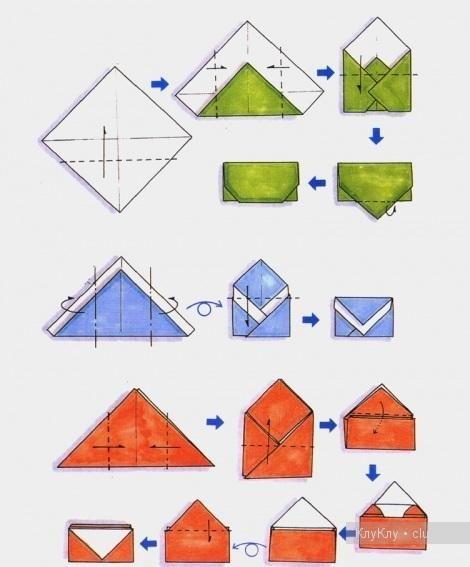 Origami Envelopes (use green pattern for fake postal co fold with smaller paper)