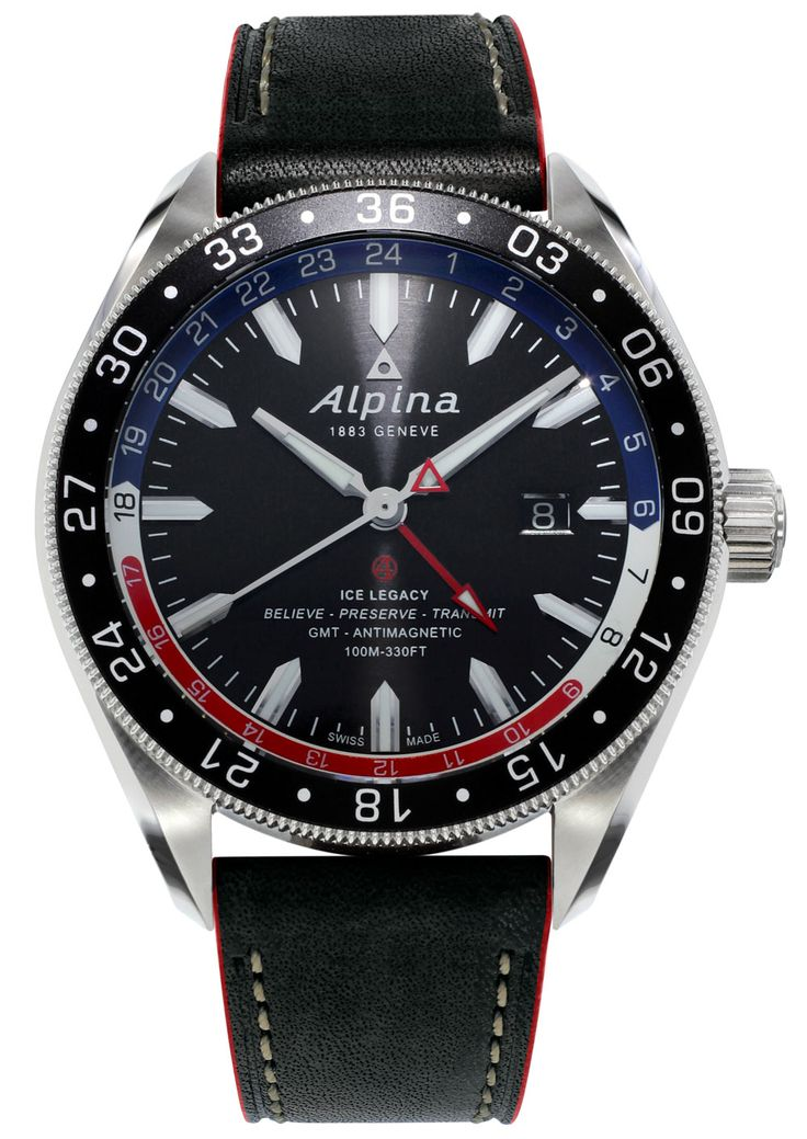 "Alpina Alpiner 4 GMT Business Timer Watch - by David Bredan - Read more from our David Bredan about this cool new Pepsi from Alpina at: aBlogtoWatch.com - ""'Ice Legacy - Believe - Preserve - Transmit.' Behold, a worthy contender for the Most Random Selection Of Words On A Watch Dial 2016 Award, as featured on the Alpina Alpiner 4 GMT Business Timer. Beyond the at-first-baffling dial, there actually is an interesting and competitive, if not entirely new offering released today by Alpina..."""