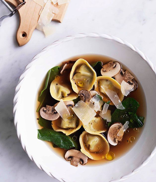 Australian Gourmet Traveller pasta recipe for chicken brodo with mushroom and mascarpone tortellini.