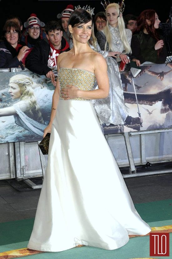 "Evangeline Lilly in Reem Acra at ""The Hobbit: The Battle Of The Five Armies"" World Premiere"