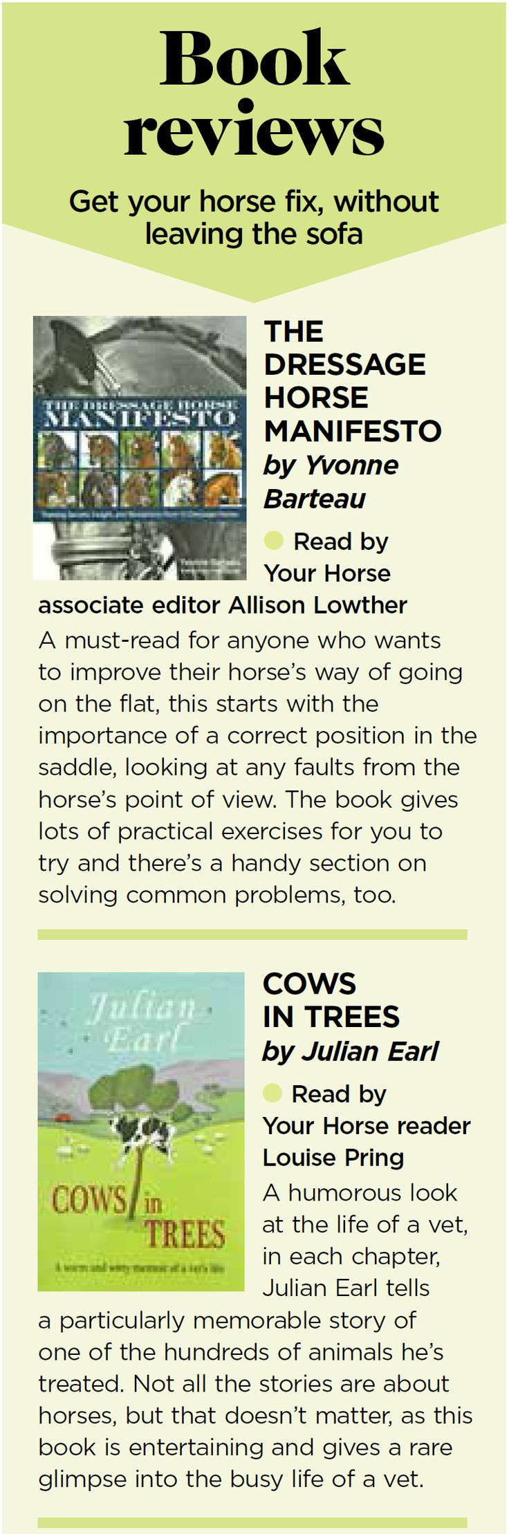 Your Horse review Cows in Trees and The Dressage Horse Manifesto