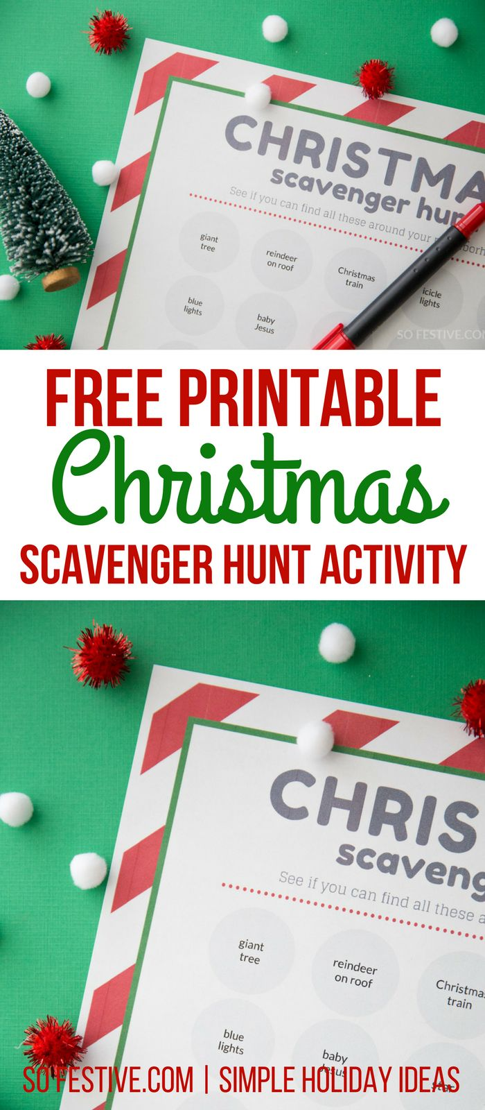 The kids will have fun with this free Christmas Scavenger Hunt Printable activity!