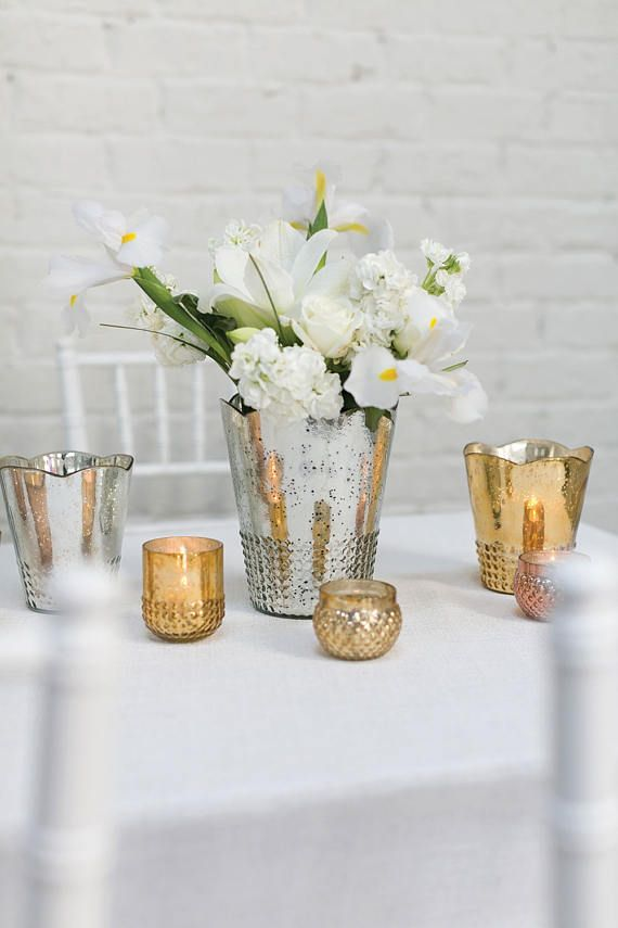 18 Pack Gold Votive Candle Holders Mercury Glass 3 Tall