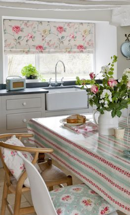 Gorgeous roman blinds in a very pretty fabric will finish any country style kitchen.  If the kitchen is small walls and units need to be light in colour and fabric back ground ALWAYS keep light. Rossetta fabic shown on blind is £16.99 on our site http://www.camberleycurtains.co.uk/designer-fabrics/item-details.php?itemid=2354