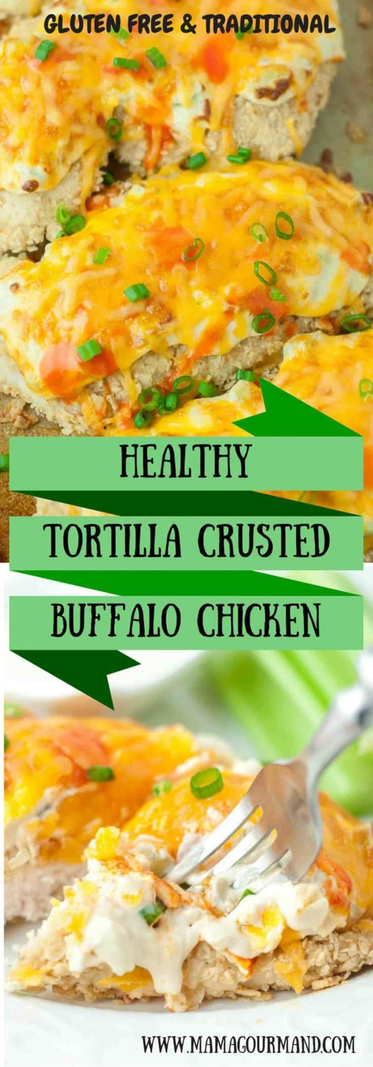 An amazing and healthy chicken recipe! The chicken is coated in crunchy crushed tortilla chips, baked with creamy buffalo topping, and smothered with cheddar cheese. It will easily become a family favorite. https://www.mamagourmand.com