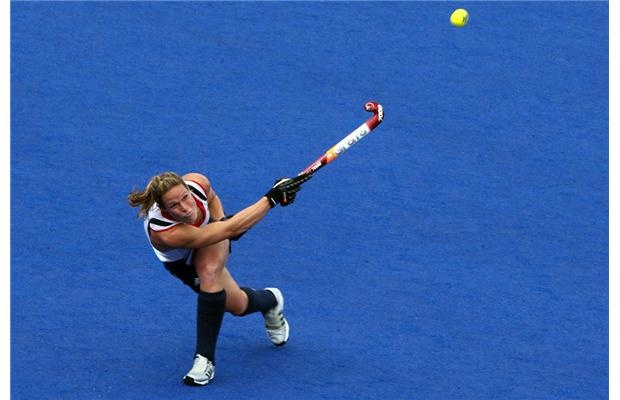 Alex Danson of Great Britain clears the ball during the Women's Hockey Match between Great Britain and Korea on day 4 of the London 2012 Olympic Games at Hockey Centre on July 31, 2012 in London, England.