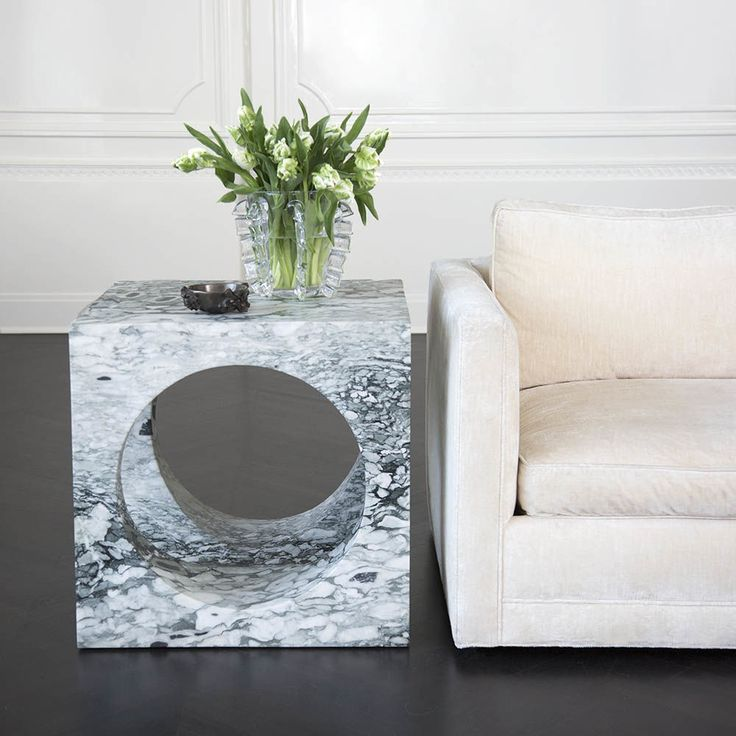 KELLY WEARSTLER | SELBY SIDE TABLE. Big Flower marble side table, carved from a solid piece of marble.