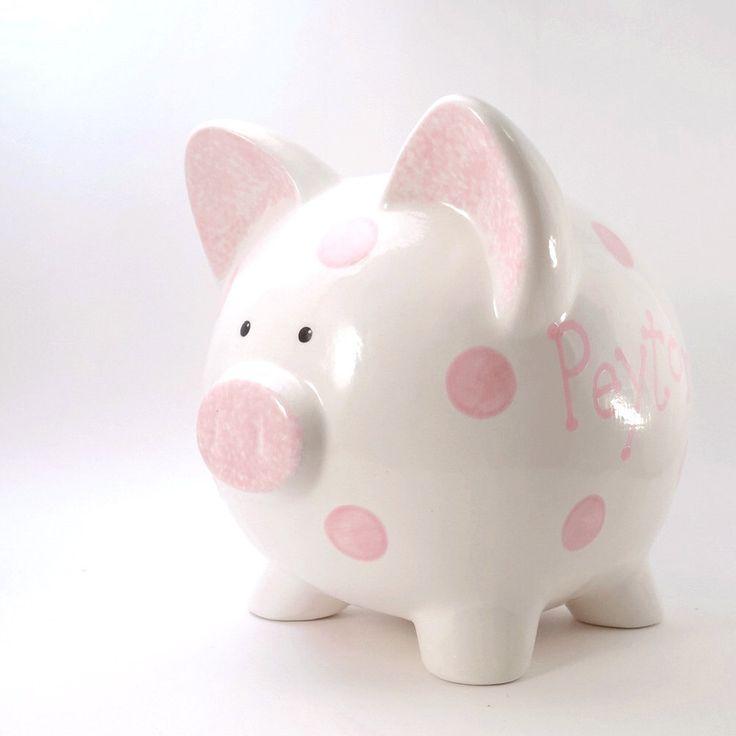 Polka Dot Piggy Bank Personalized Ceramic Fun Kids