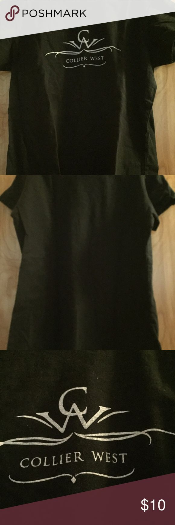 Black Petite Ladies T shirt Collier West Brand Black tshirt that says Collier West in white letters on front. This shirt was barely worn. No defects. Size ladies petite, so it is small. It isn't a boxy tshirt, hugs to the body. 100% cotton. Simple scoop neck. The brand that manufactured it is called Bella. Collier West Tops Tees - Short Sleeve