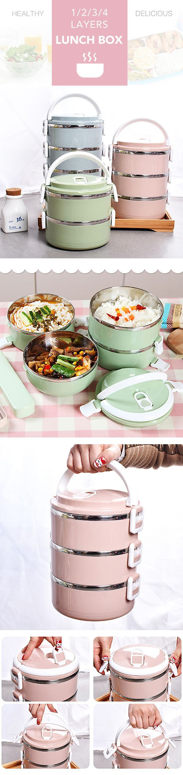 $6.95 1/2/3/4 Layers Stainless Steel Thermal Insulated Lunch Box Bento Food Storage Container Maccaron