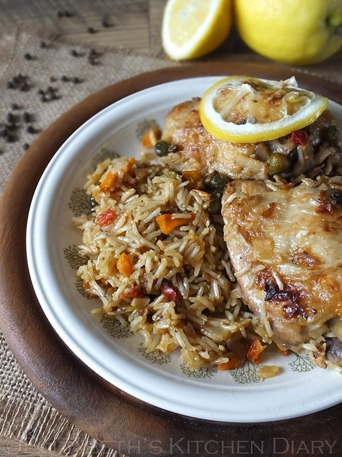 one pot lemon pepper chicken with country vegetable rice via elizabeth's kitchen diary (with recipe)