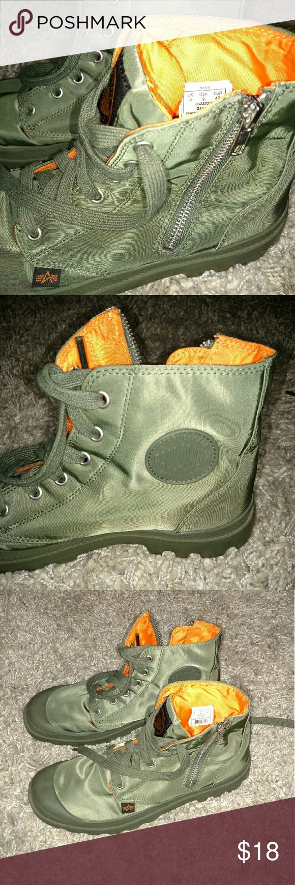 Palladium Men boots Green Nylon Palladium High zip boots. Orange on the inside. Side zipper. Worn two times, like new. Palladium Shoes Boots