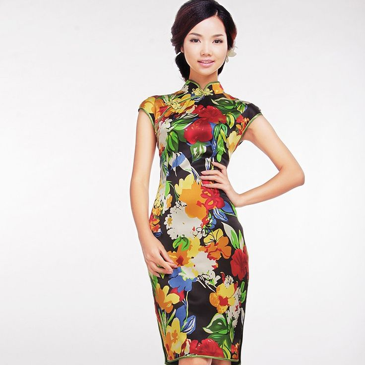# alone in her beauty - read full story - http://www.elegente.com/fashion-colorful-flowers-printed-chinese-cheongsam-dress.html