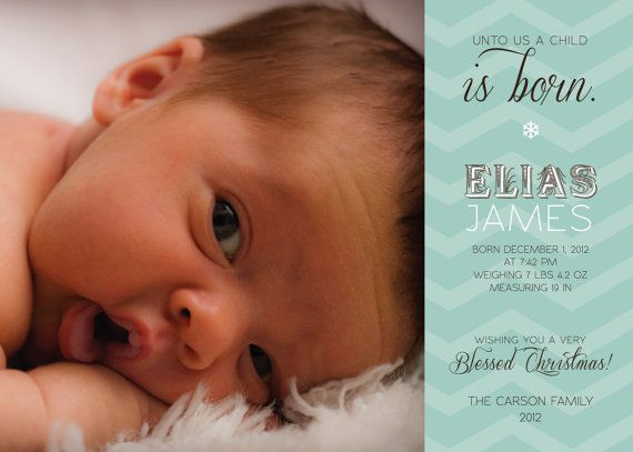 Holiday Birth Announcement  A Child is Born by sweetsugarpaperie, $15.00