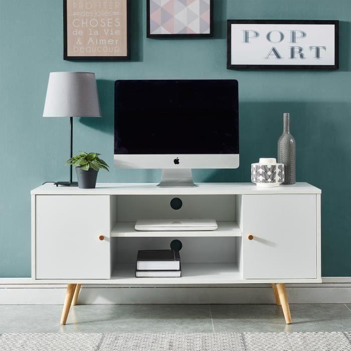Meuble Tv Scandinave Decor Blanc Pieds En Bois Eucalyptus L 116 Cm Babette Meuble Tv Scandinave Petit Meuble Tv Decoration Blanc