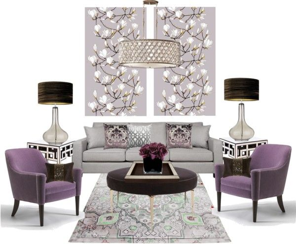 """Lilac living room..."" by gloriettequartet on Polyvore"