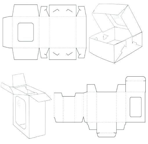 cardboard box template window style carton templates on laser cut