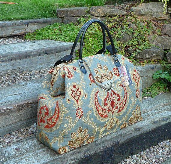 Mary Poppins Bag Weekender Bag Carpet Bag Grey by Bagsofelegance