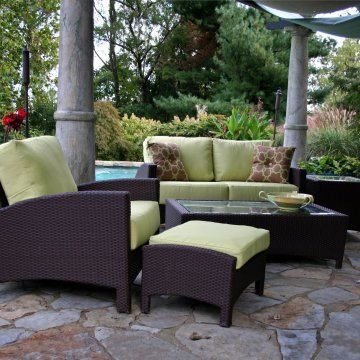 Anacara Atlantis All Weather Wicker Patio Conversation Set   Seats Up To 5    Commercial