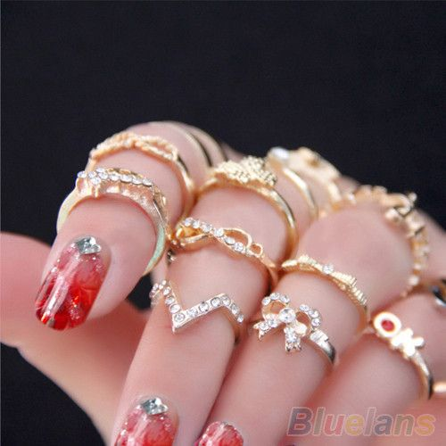 1 Set 7 pcs Women's Rhinestone Bowknot Knuckle Midi Mid Finger Tip Stacking Rings