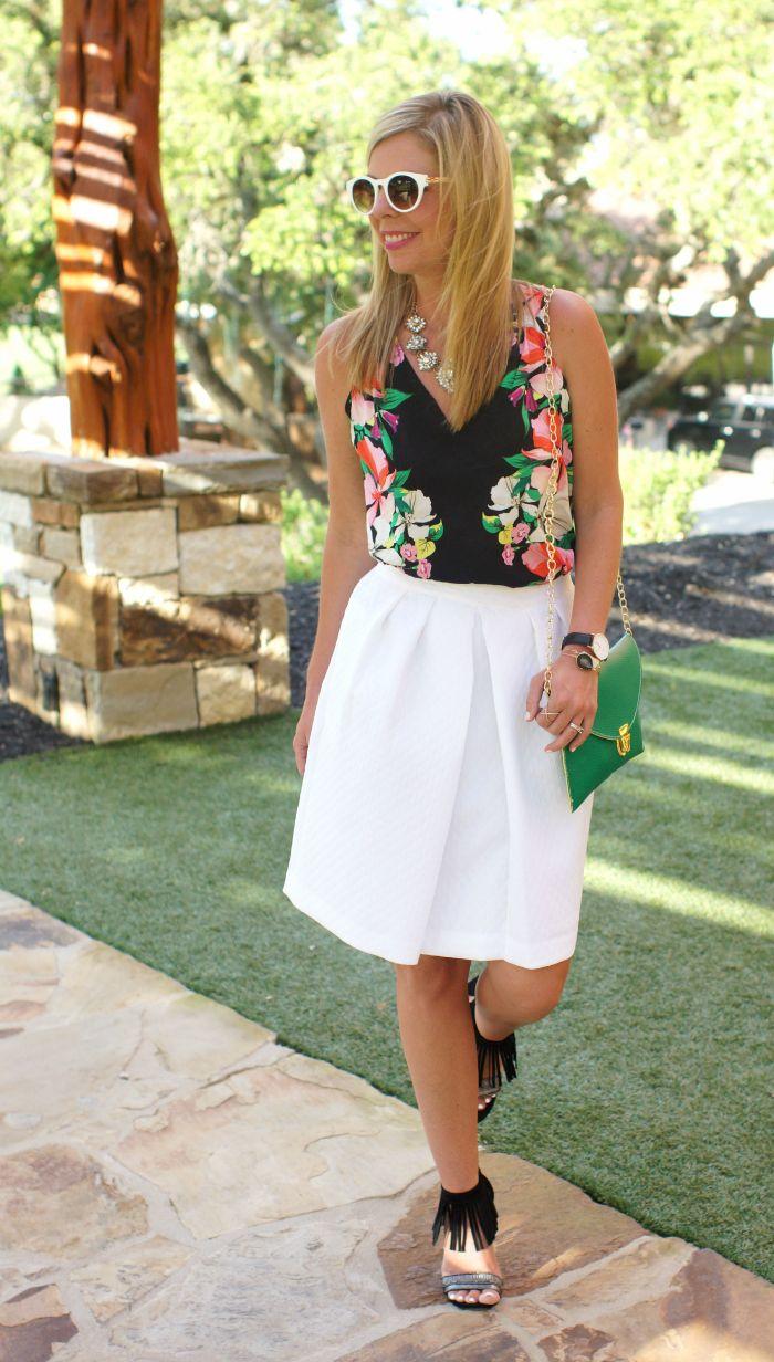white textured midi skirt