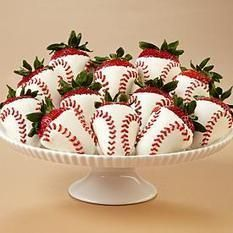 for baseball theme wedding 12 Hand-Dipped Home Run Berries | Candy Buffet Weddings and Events | Scoop.it