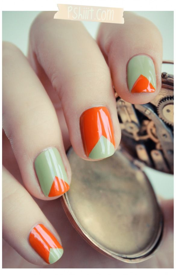 make clean edges by using scotch tapeOrange, Colors Combos, Nails Art, Nailart, Nails Design, Triangles Nails, Green Nails, Nail Art, Chevron Nails