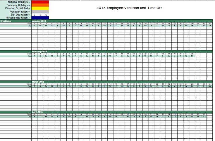 Employee Vacation Calendar Template 2015 | Calendar 2015 | Pinterest
