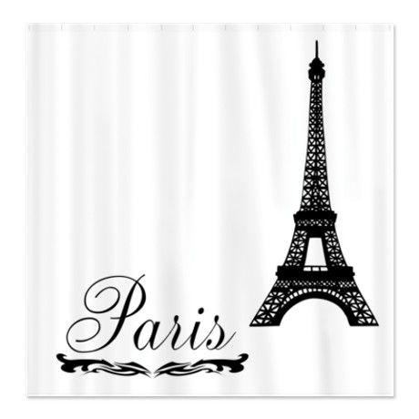 Paris Eiffel Tower With Scrolls Shower Curtain On