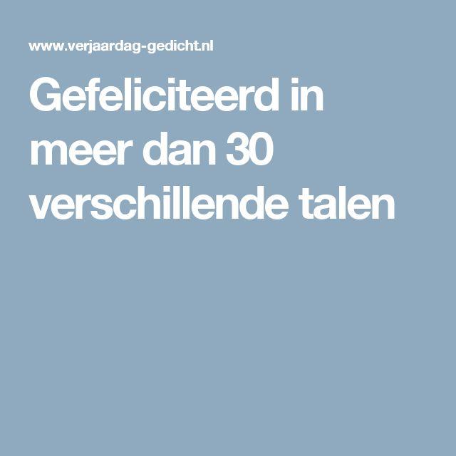 Gefeliciteerd in meer dan 30 verschillende talen