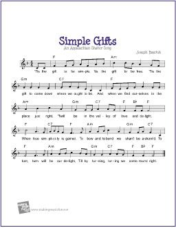 Simple Gifts | Free Sheet Music for Guitar (Lead Sheet) - http://www.makingmusicfun.net/htm/f_printit_free_printable_sheet_music/simple-gifts-lead-sheet.htm