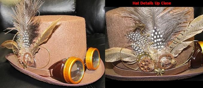 Cool Steampunk Hat Idea - I created this for a friend's daughter for Halloween for just about $30