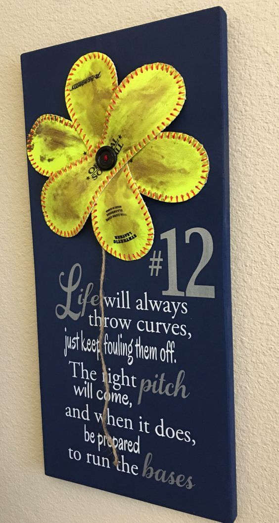 Life Will Always Throw Curves, Baseball/Softball Sign Decor, Inspirational Quote, Baseball Softball Flower Yellow Softball - pinned by pin4etsy.com Houston - TX / Sports Memorabilia online store. If you don't see what you are looking for shoot me an email - GoHardPro2@gmail.com