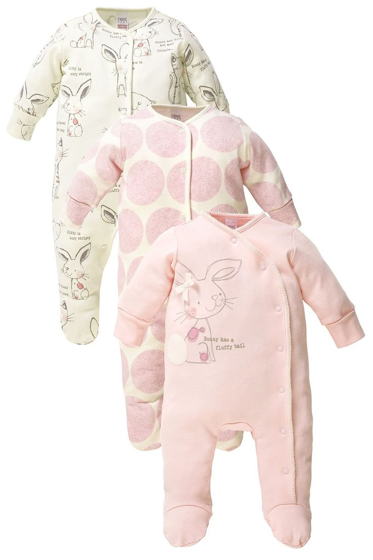 Newborn Clothing - Baby Clothes and Infantwear - Next Bunny Sleepsuits Three Pack - EziBuy Australia
