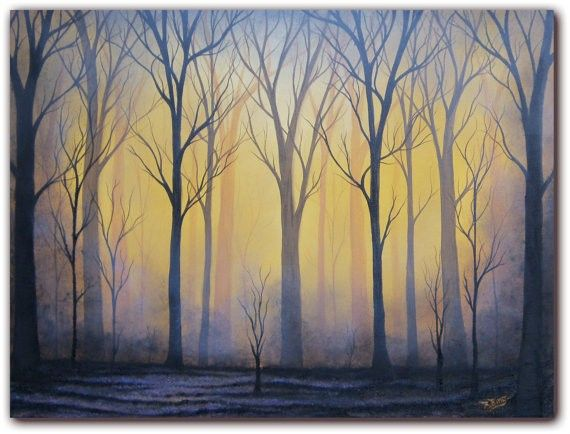 Hand Painted Landscape Oil Painting Halloween Forest