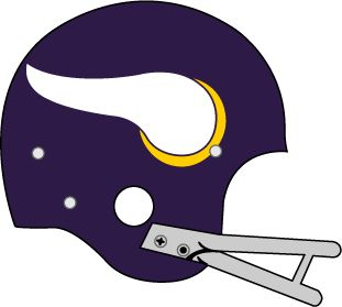 Minnesota Vikings Helmet Logo (1961) - Purple helmet, white and gold horn with grey facemask