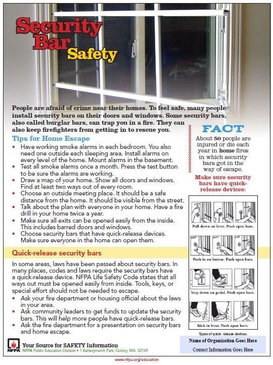 Security Bar Safety tip sheet now available Fire safety