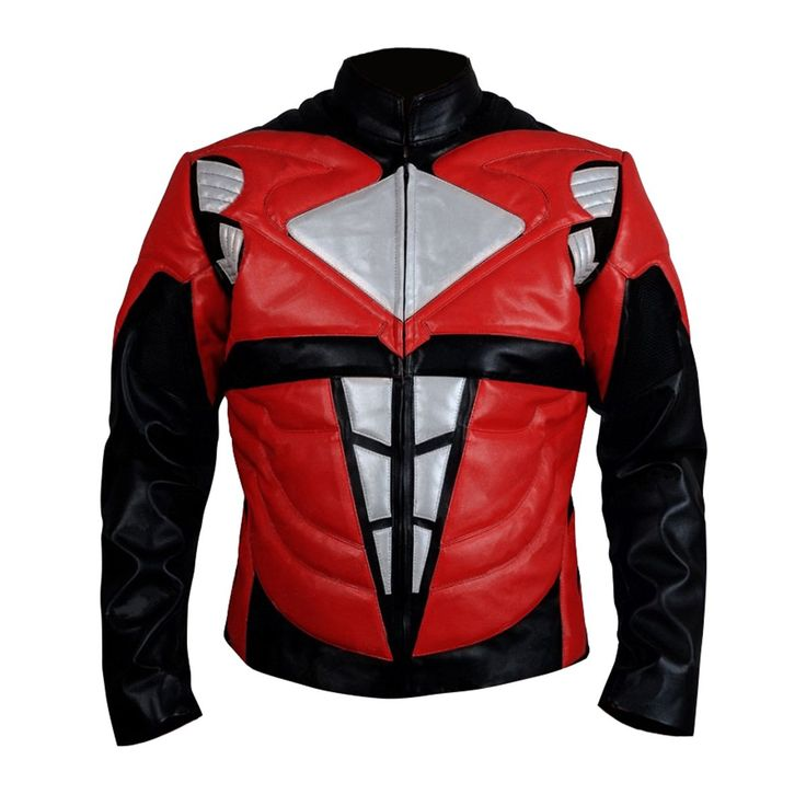 Power Rangers Mens Superhero Costume Mighty Leather Jacket (XX-Large, Red)