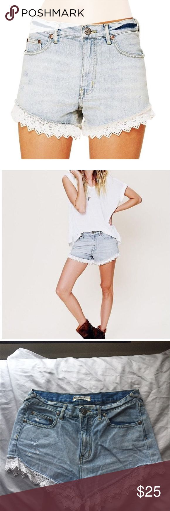 Free People lace trimmed shorts Free People lace trimmed shorts in light denim.  Medium-high waist. No flaws, great condition, worn handful of times. Size 28. Free People Shorts Jean Shorts