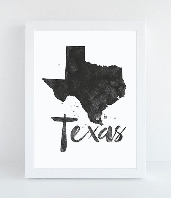 Texas Printable State Wall Art Texas Print by PetrichorAndInk